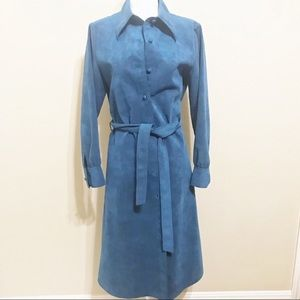 Vintage Ciao Blue Suede Tie Waist Dress